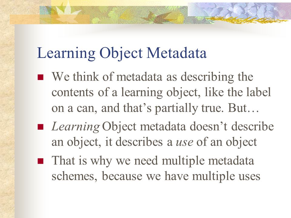 Learning Object Metadata We think of metadata as describing the contents of a learning object, like the label on a can, and that's partially true. But