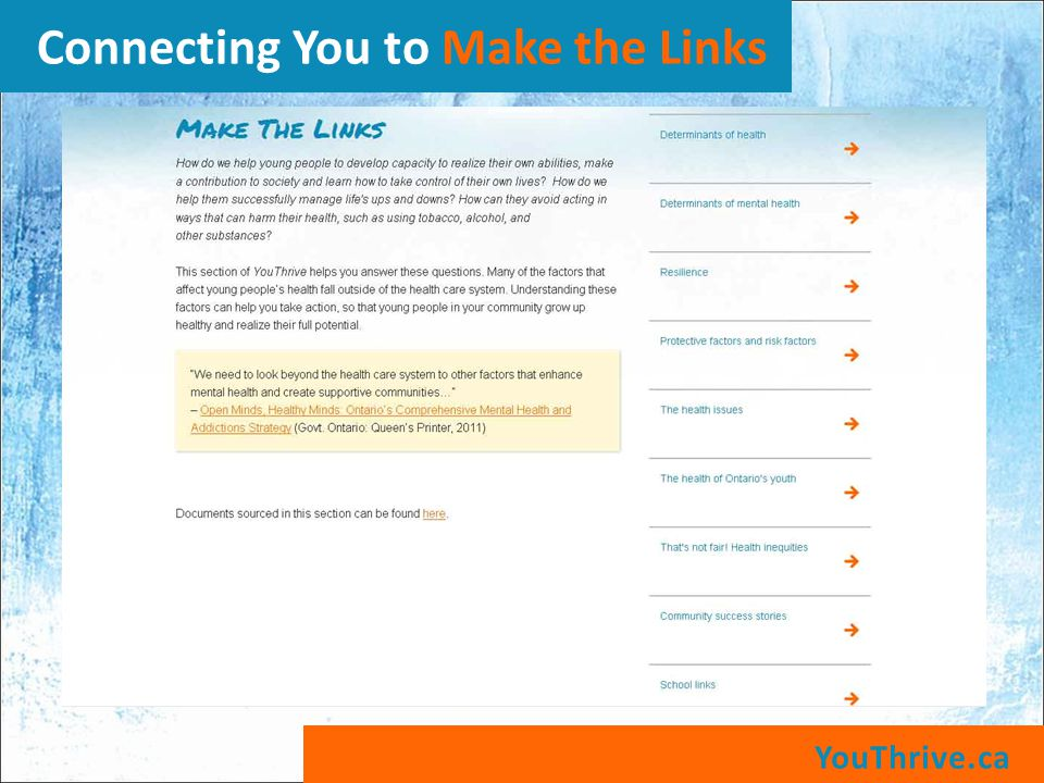 YouThrive.ca Connecting You to Make the Links
