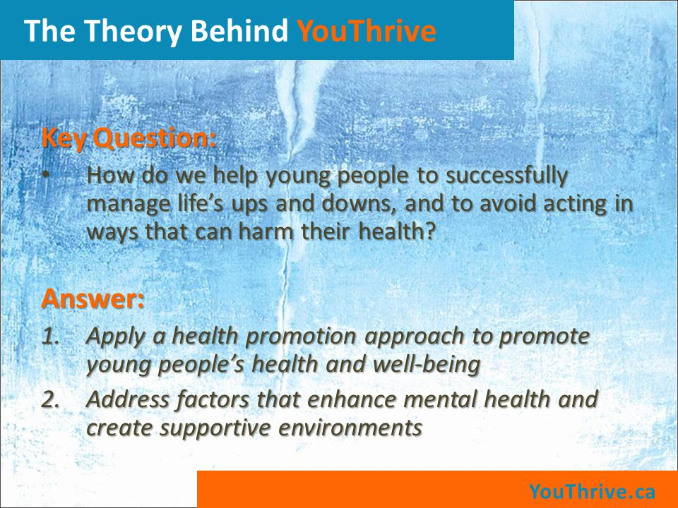 Key Question: How do we help young people to successfully manage life's ups and downs, and to avoid acting in ways that can harm their health.