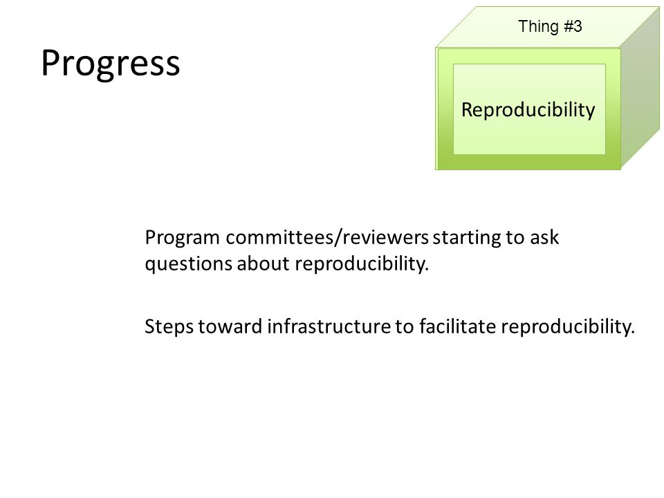 Progress Thing #3 Reproducibility Program committees/reviewers starting to ask questions about reproducibility.