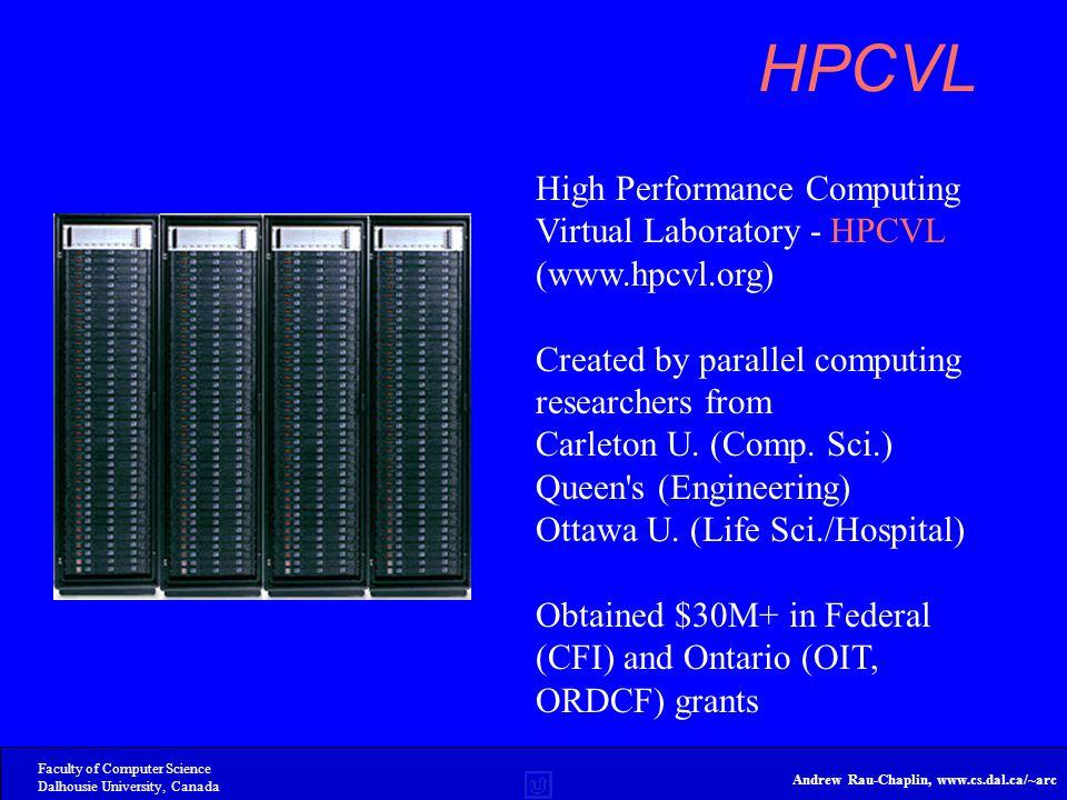 Faculty of Computer Science Dalhousie University, Canada Andrew Rau-Chaplin, www.cs.dal.ca/~arc HPCVL High Performance Computing Virtual Laboratory - HPCVL (www.hpcvl.org) Created by parallel computing researchers from Carleton U.