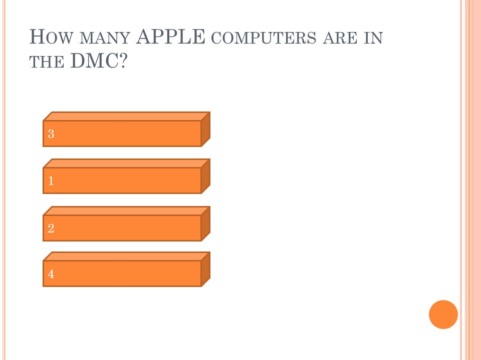 H OW MANY APPLE COMPUTERS ARE IN THE DMC