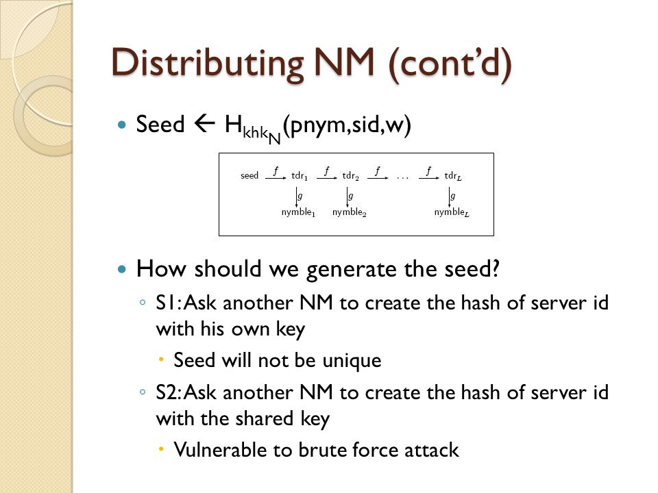 Distributing NM (cont'd) Seed  H khk N (pnym,sid,w) How should we generate the seed.