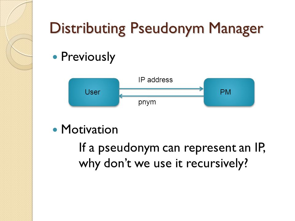 Distributing Pseudonym Manager UserPM IP address pnym Previously Motivation If a pseudonym can represent an IP, why don't we use it recursively
