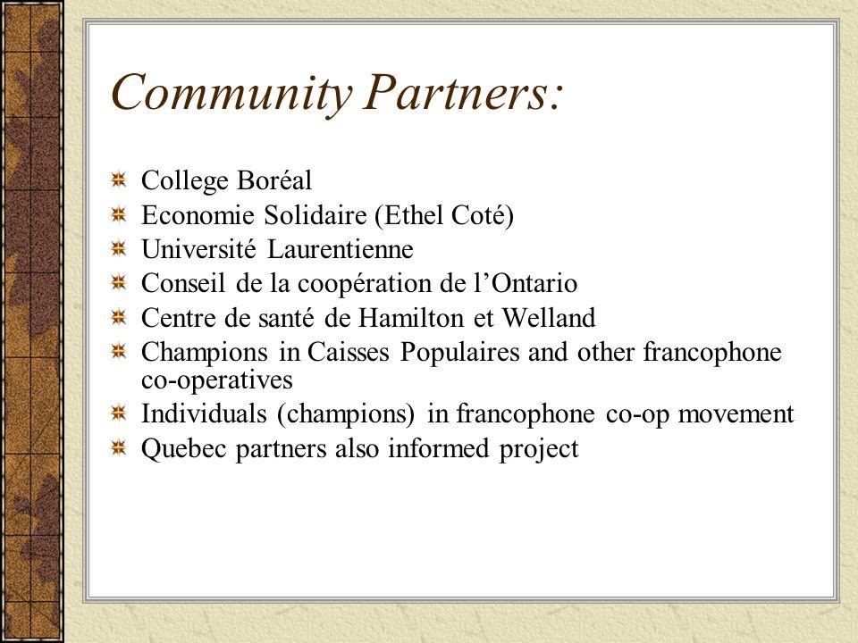 Community Partners: College Boréal Economie Solidaire (Ethel Coté) Université Laurentienne Conseil de la coopération de l'Ontario Centre de santé de Hamilton et Welland Champions in Caisses Populaires and other francophone co-operatives Individuals (champions) in francophone co-op movement Quebec partners also informed project