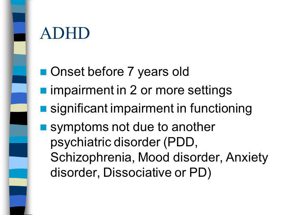 ADHD Types –Combined Type –Predominantly Inattentive Type –Predominantly Hyperactive/Impulsive Type –NOS