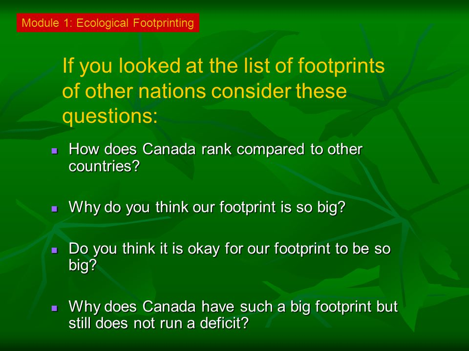 Module 1: Ecological Footprinting If you looked at the list of footprints of other nations consider these questions: How does Canada rank compared to other countries.