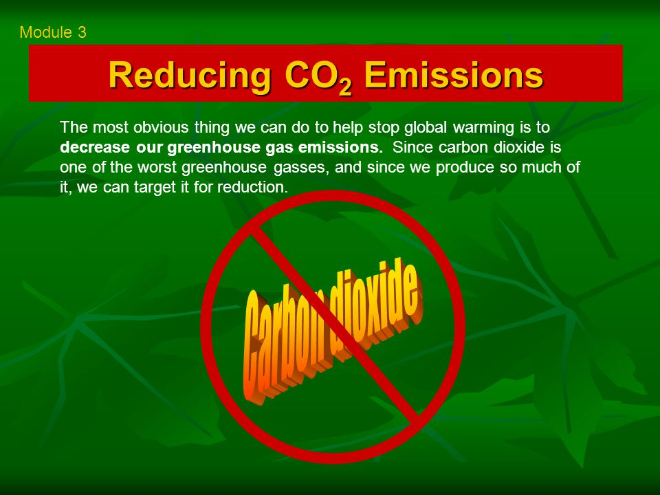 Reducing CO 2 Emissions Module 3 The most obvious thing we can do to help stop global warming is to decrease our greenhouse gas emissions.