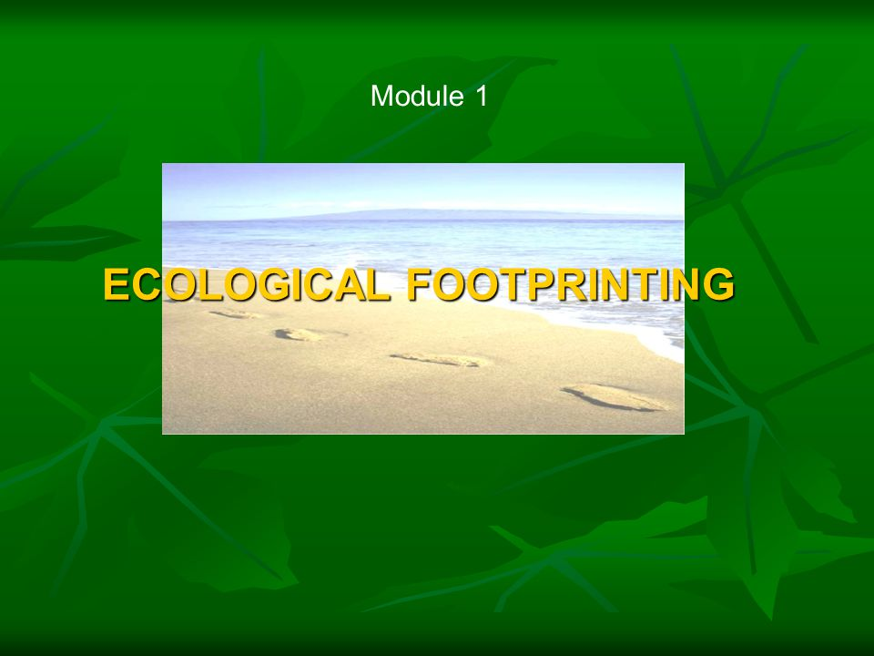ECOLOGICAL FOOTPRINTING Module 1