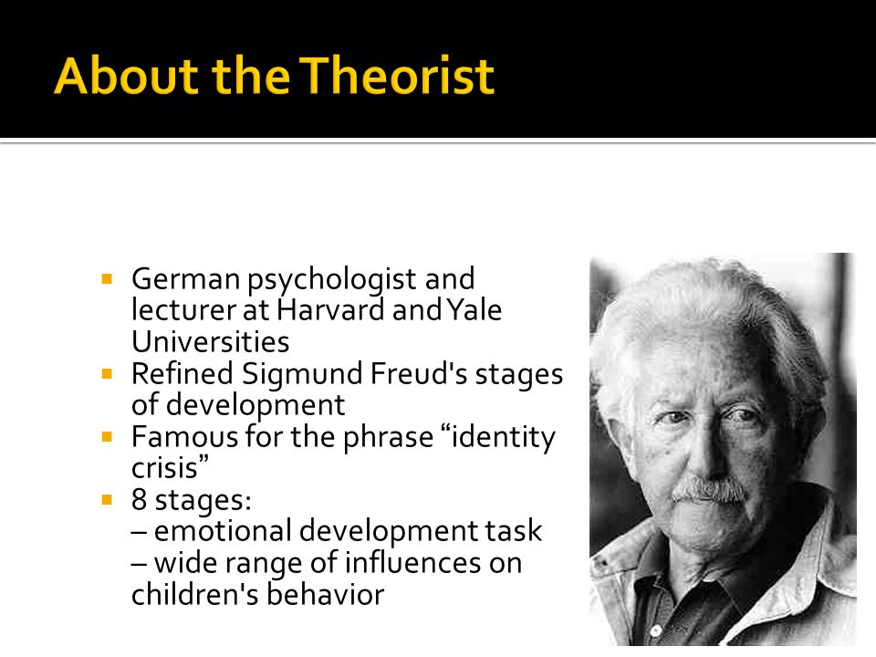 " German psychologist and lecturer at Harvard and Yale Universities  Refined Sigmund Freud's stages of development  Famous for the phrase ""identity"