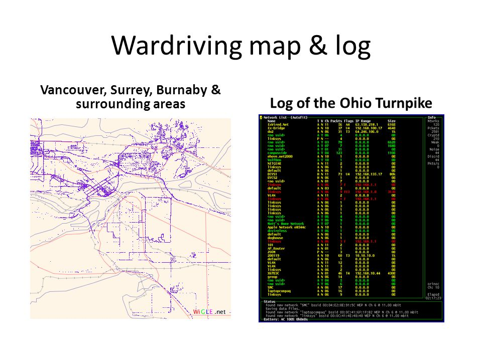 Wardriving map & log Vancouver, Surrey, Burnaby & surrounding areas Log of the Ohio Turnpike