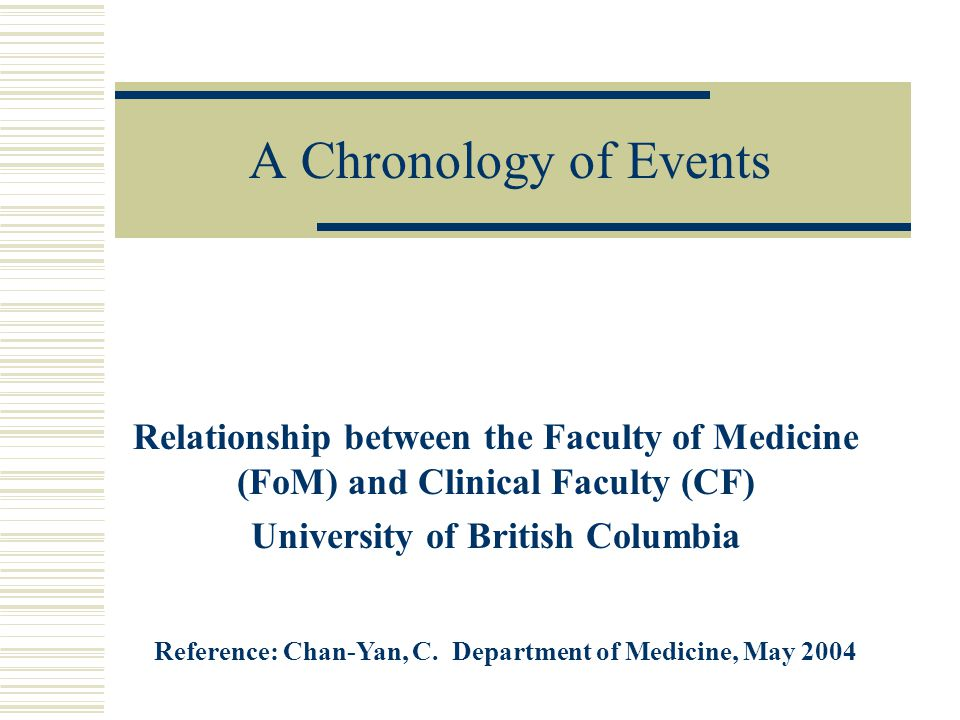 A Chronology of Events Relationship between the Faculty of Medicine (FoM) and Clinical Faculty (CF) University of British Columbia Reference: Chan-Yan, C.