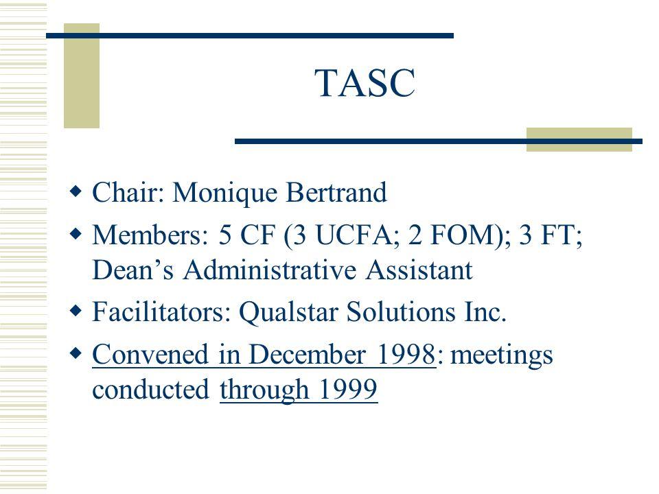 TASC  Chair: Monique Bertrand  Members: 5 CF (3 UCFA; 2 FOM); 3 FT; Dean's Administrative Assistant  Facilitators: Qualstar Solutions Inc.