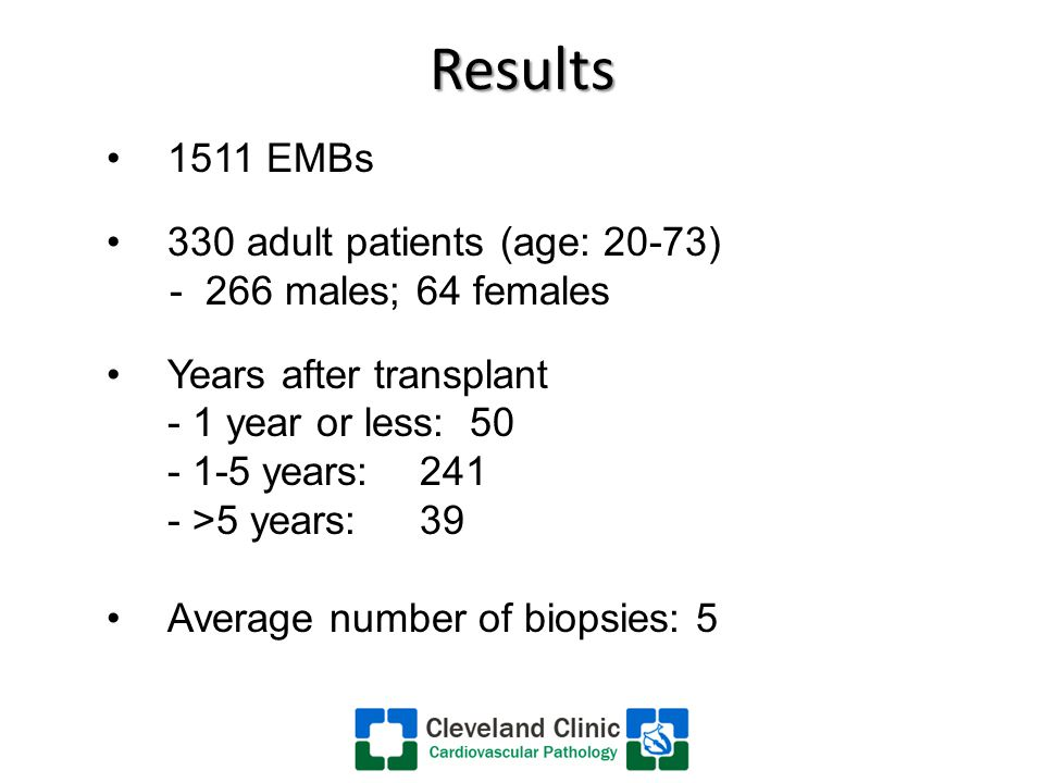 Results 1511 EMBs 330 adult patients (age: 20-73) - 266 males; 64 females Years after transplant - 1 year or less: 50 - 1-5 years: 241 - >5 years:39 Average number of biopsies: 5