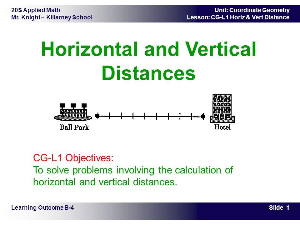 20S Applied Math Mr. Knight – Killarney School Slide 1 Unit: Coordinate Geometry Lesson: CG-L1 Horiz & Vert Distance Horizontal and Vertical Distances