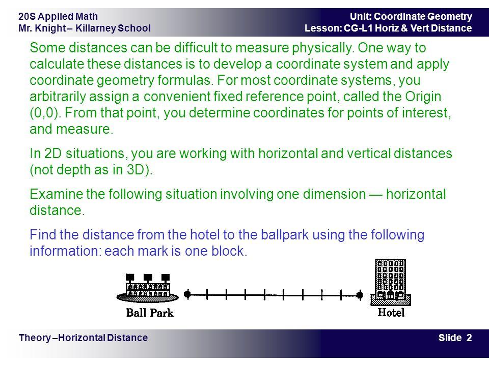 20S Applied Math Mr. Knight – Killarney School Slide 2 Unit: Coordinate Geometry Lesson: CG-L1 Horiz & Vert Distance Some distances can be difficult t