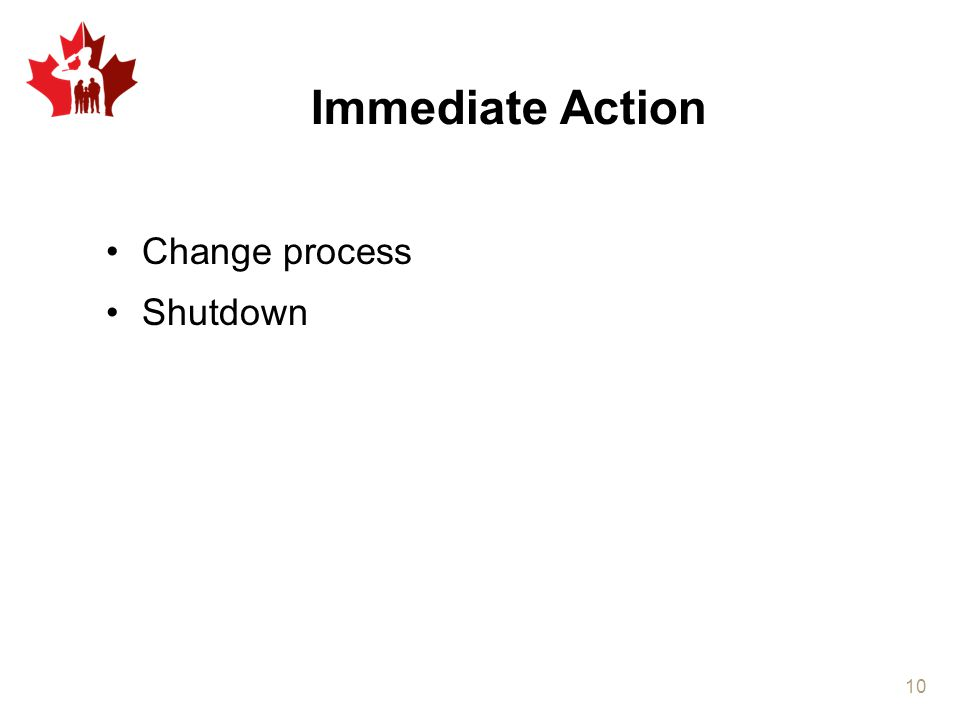 Immediate Action Change process Shutdown 10