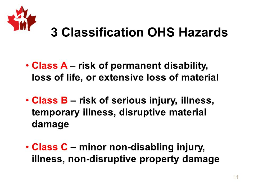 Class A – risk of permanent disability, loss of life, or extensive loss of material Class B – risk of serious injury, illness, temporary illness, disruptive material damage Class C – minor non-disabling injury, illness, non-disruptive property damage 3 Classification OHS Hazards 11