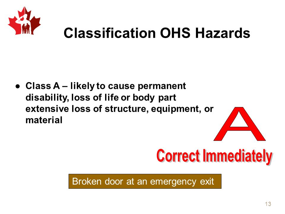 Classification OHS Hazards ●Class A – likely to cause permanent disability, loss of life or body part extensive loss of structure, equipment, or mater