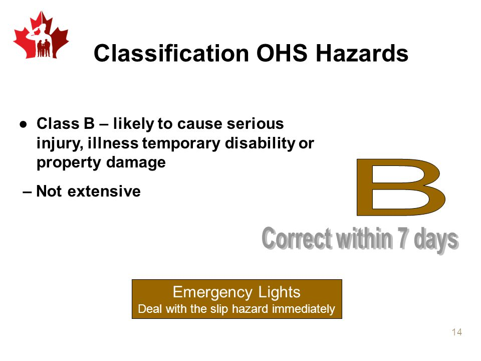 Classification OHS Hazards ●Class B – likely to cause serious injury, illness temporary disability or property damage – Not extensive Emergency Lights