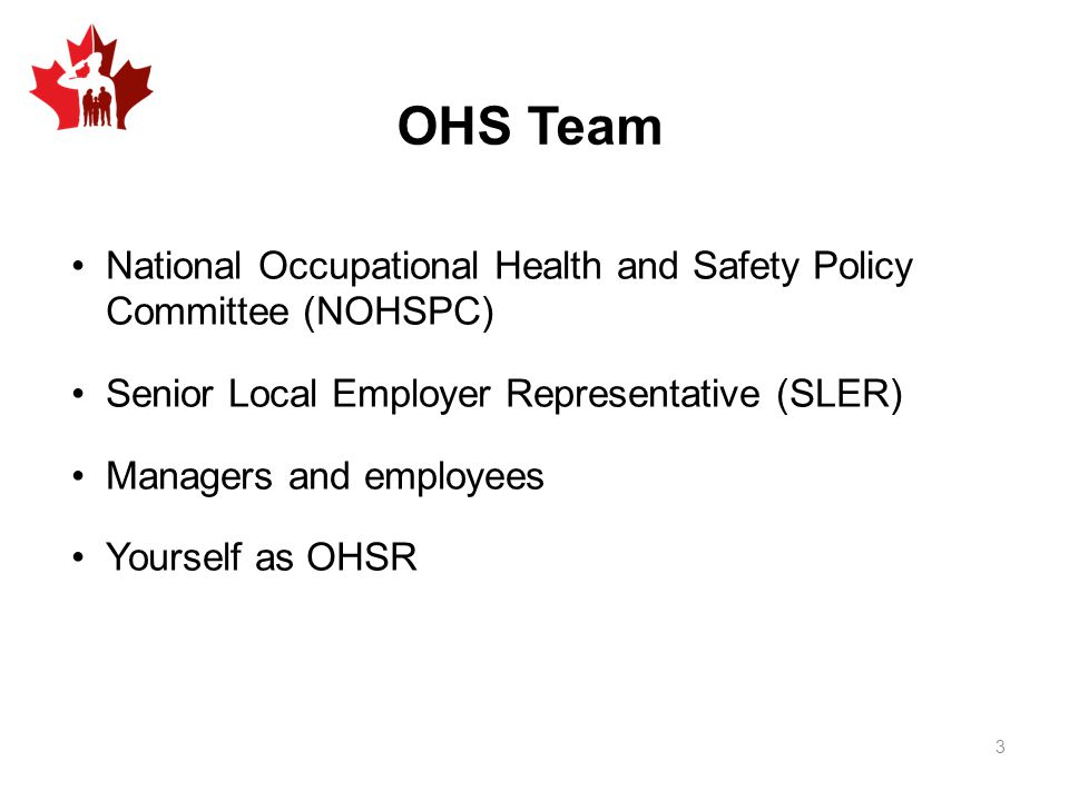 OHS Team National Occupational Health and Safety Policy Committee (NOHSPC) Senior Local Employer Representative (SLER) Managers and employees Yourself as OHSR 3