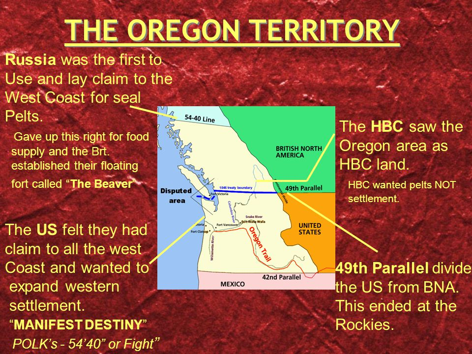 THE OREGON TERRITORY The HBC saw the Oregon area as HBC land.