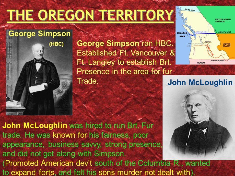 THE OREGON TERRITORY George Simpson ran HBC. Established Ft.