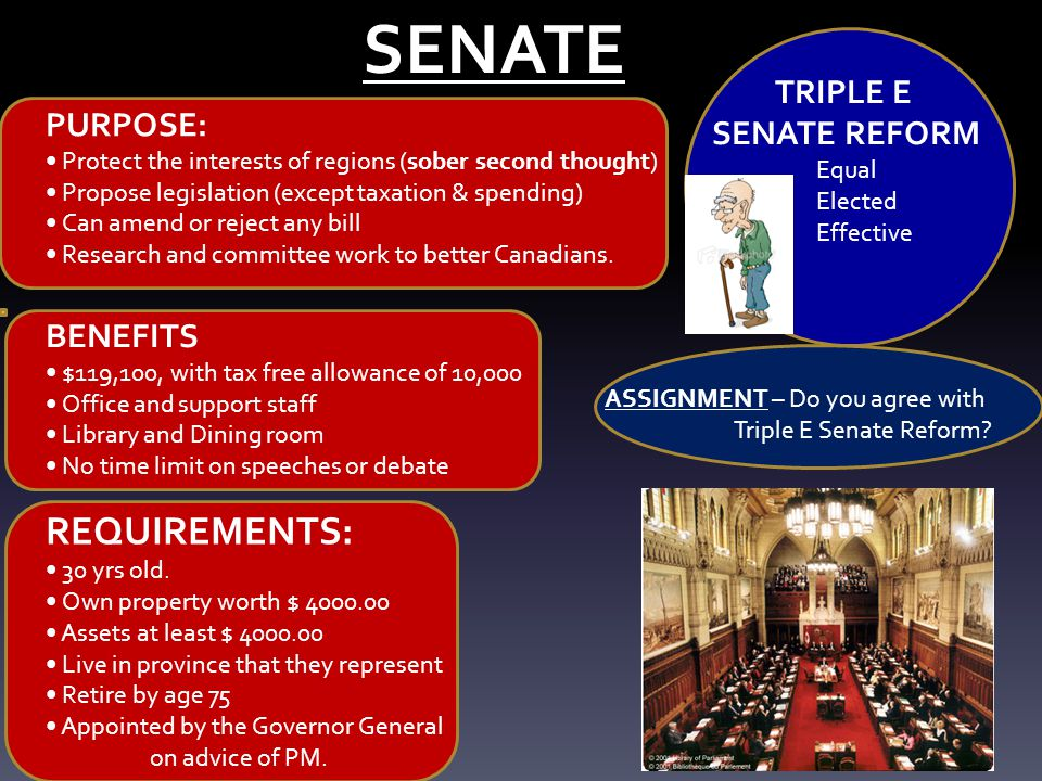 SENATE REQUIREMENTS: 30 yrs old. Own property worth $ 4000.00 Assets at least $ 4000.00 Live in province that they represent Retire by age 75 Appointe