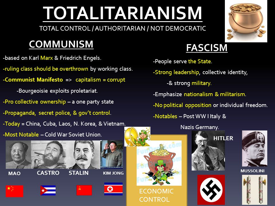 TOTALITARIANISM TOTAL CONTROL / AUTHORITARIAN / NOT DEMOCRATIC COMMUNISM -based on Karl Marx & Friedrich Engels. -ruling class should be overthrown by