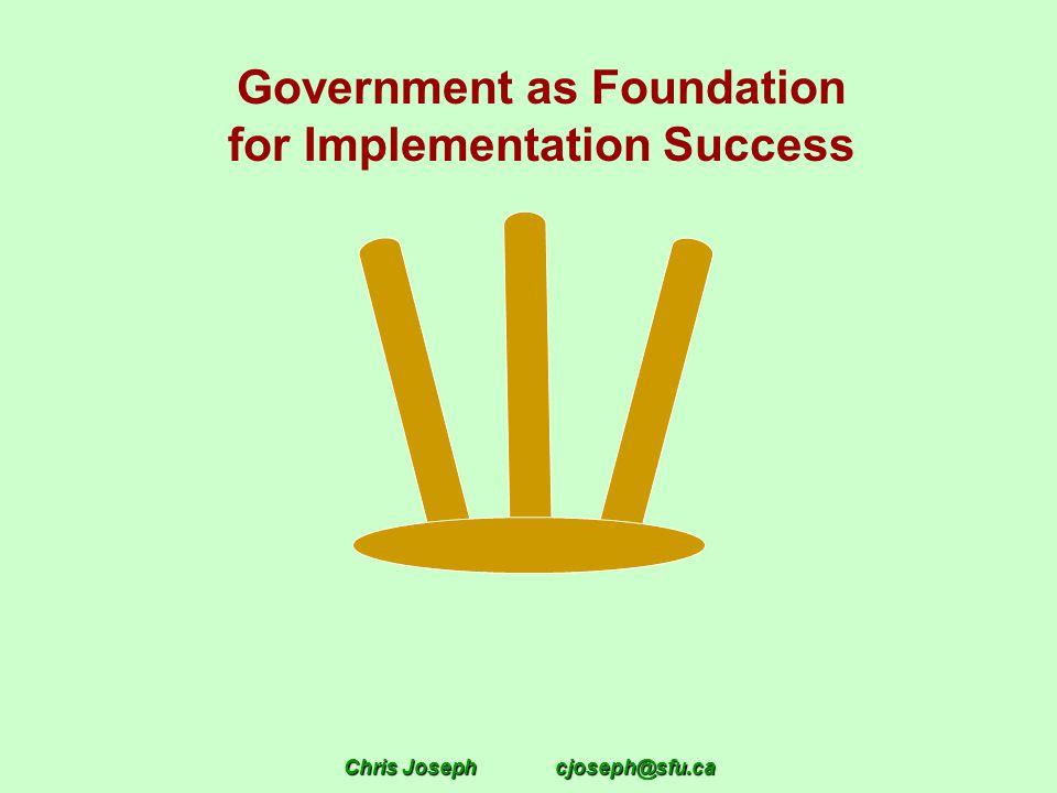 Chris Josephcjoseph@sfu.ca Government as Foundation for Implementation Success