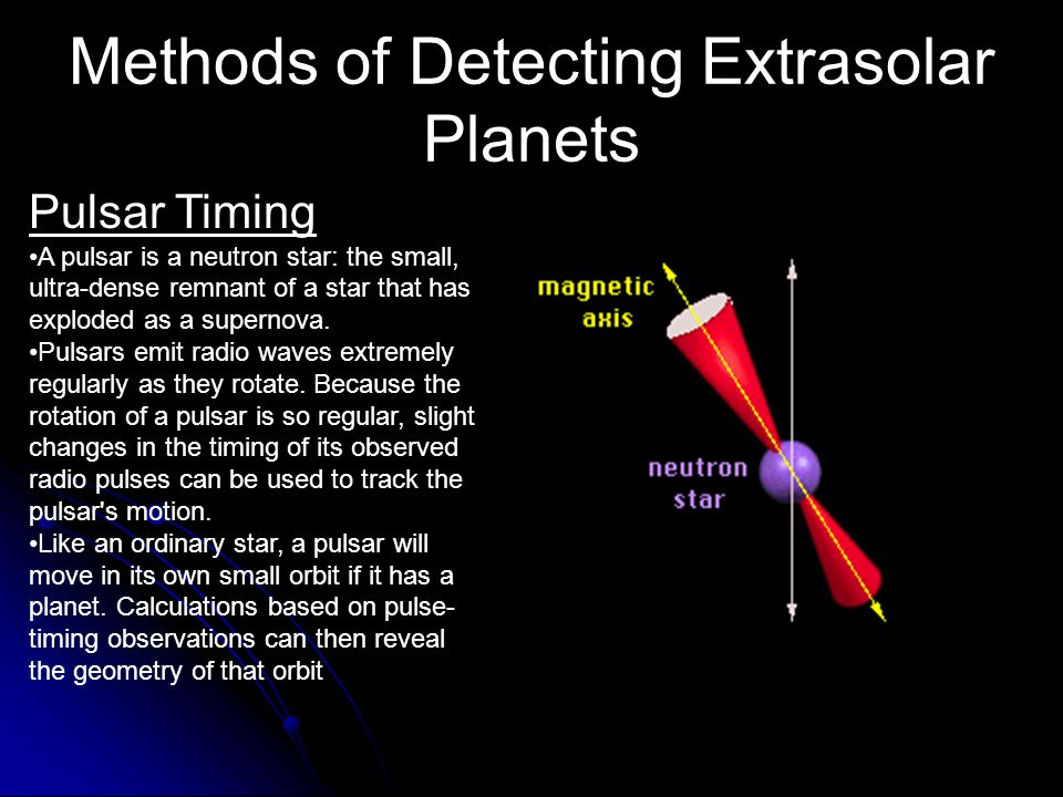 Methods of Detecting Extrasolar Planets Doppler Shift (Radial Velocity) A star with a planet will move in its own small orbit in response to the plane