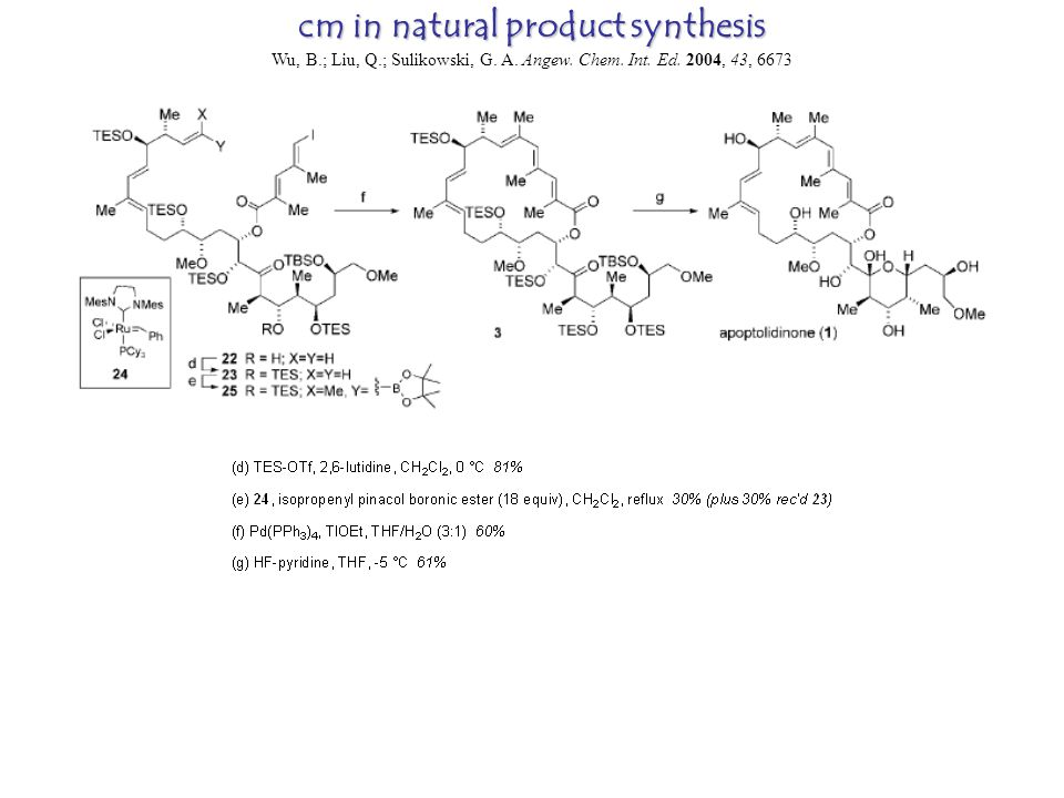 cm in natural product synthesis Wu, B.; Liu, Q.; Sulikowski, G.