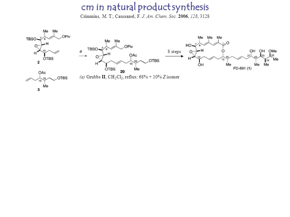 cm in natural product synthesis Crimmins, M. T.; Caussanel, F.