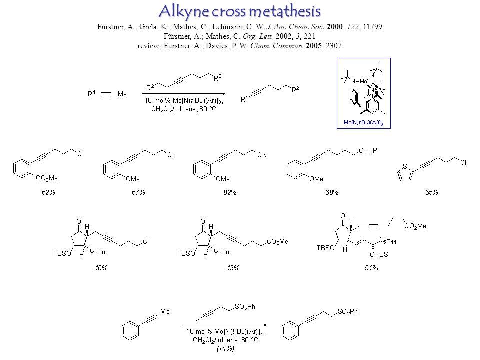 Alkyne cross metathesis Fürstner, A.; Grela, K.; Mathes, C.; Lehmann, C.