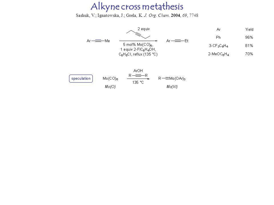 Alkyne cross metathesis Sashuk, V.; Ignatowska, J.; Grela, K. J. Org. Chem. 2004, 69, 7748