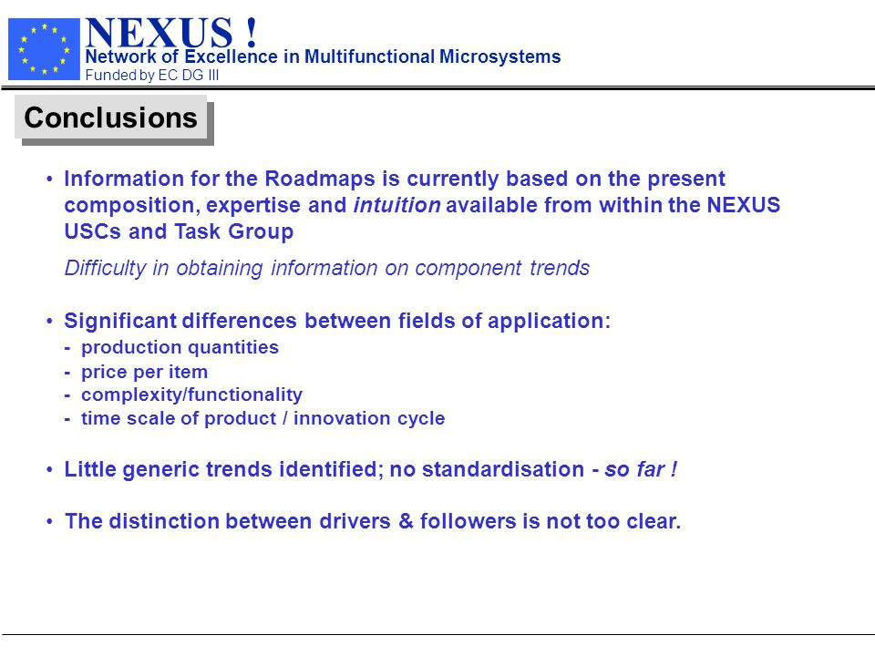 NEXUS ! Network of Excellence in Multifunctional Microsystems Funded by EC DG III Conclusions Information for the Roadmaps is currently based on the p