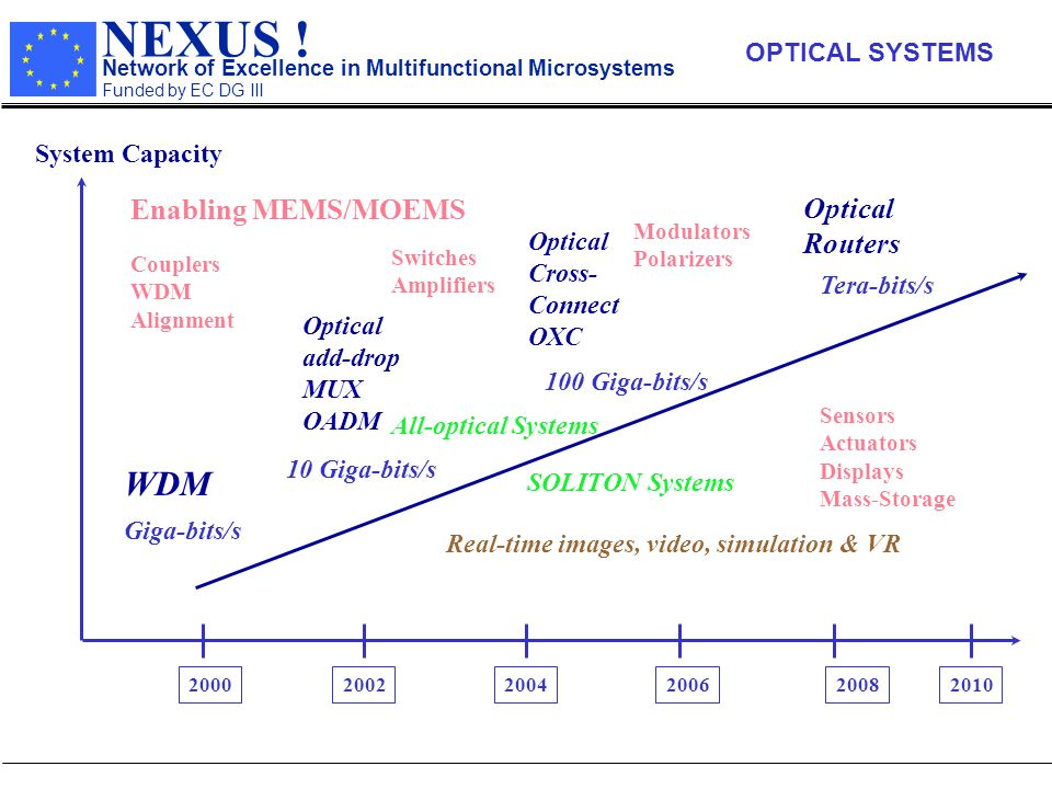 NEXUS ! Network of Excellence in Multifunctional Microsystems Funded by EC DG III 200020022004200620082010 System Capacity Giga-bits/s 10 Giga-bits/s