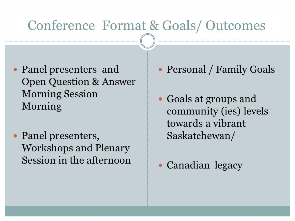 Conference Format & Goals/ Outcomes Panel presenters and Open Question & Answer Morning Session Morning Panel presenters, Workshops and Plenary Session in the afternoon Personal / Family Goals Goals at groups and community (ies) levels towards a vibrant Saskatchewan/ Canadian legacy