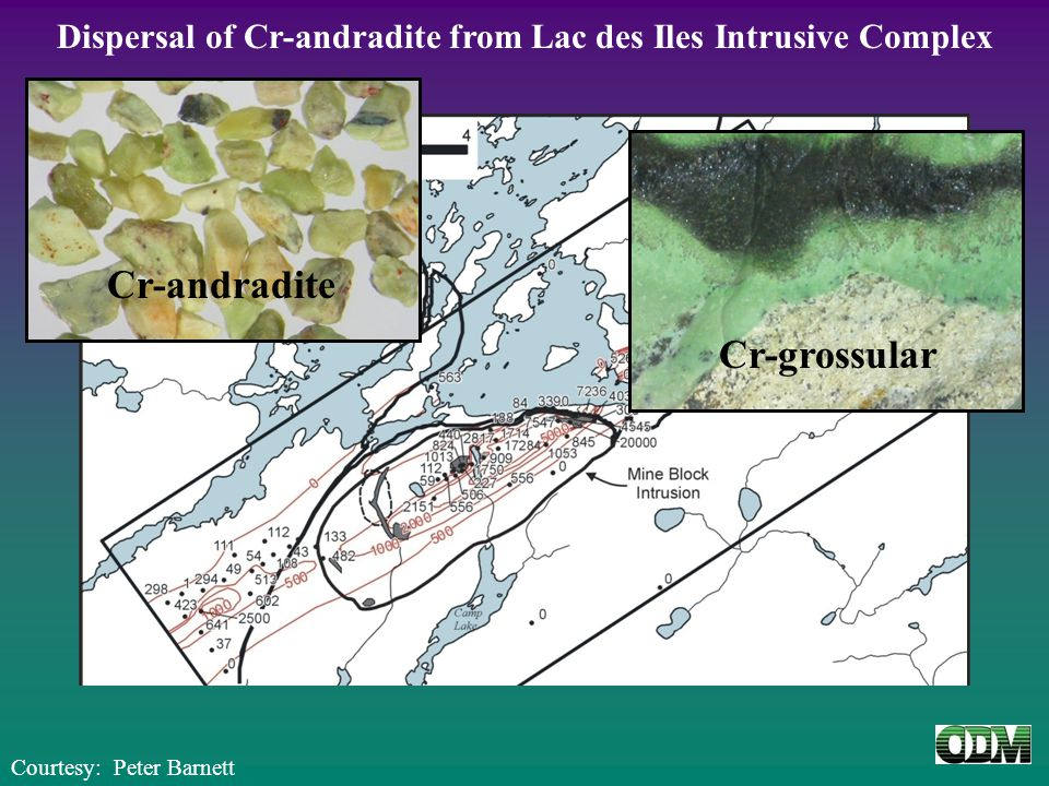 Dispersal of Cr-andradite from Lac des Iles Intrusive Complex Cr-andradite Courtesy: Peter Barnett Cr-grossular