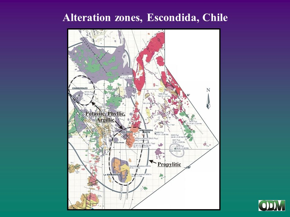 Alteration zones, Escondida, Chile