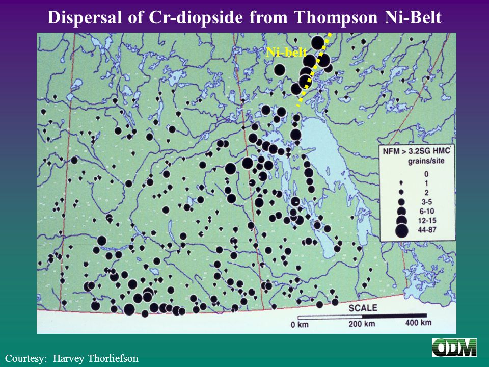 Dispersal of Cr-diopside from Thompson Ni-Belt Courtesy: Harvey Thorliefson Ni-belt