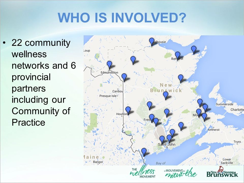 WHO IS INVOLVED? 22 community wellness networks and 6 provincial partners including our Community of Practice