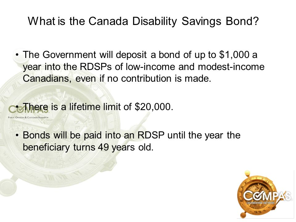 What is the Canada Disability Savings Bond? The Government will deposit a bond of up to $1,000 a year into the RDSPs of low-income and modest-income C