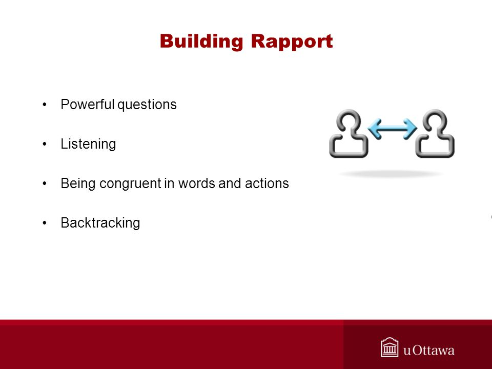 Building Rapport Powerful questions Listening Being congruent in words and actions Backtracking