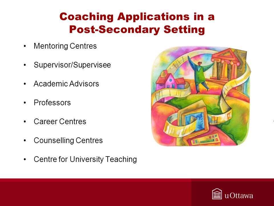 Coaching Applications in a Post-Secondary Setting Mentoring Centres Supervisor/Supervisee Academic Advisors Professors Career Centres Counselling Centres Centre for University Teaching