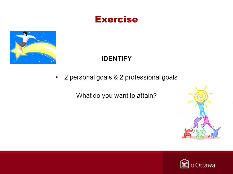 Exercise IDENTIFY 2 personal goals & 2 professional goals What do you want to attain