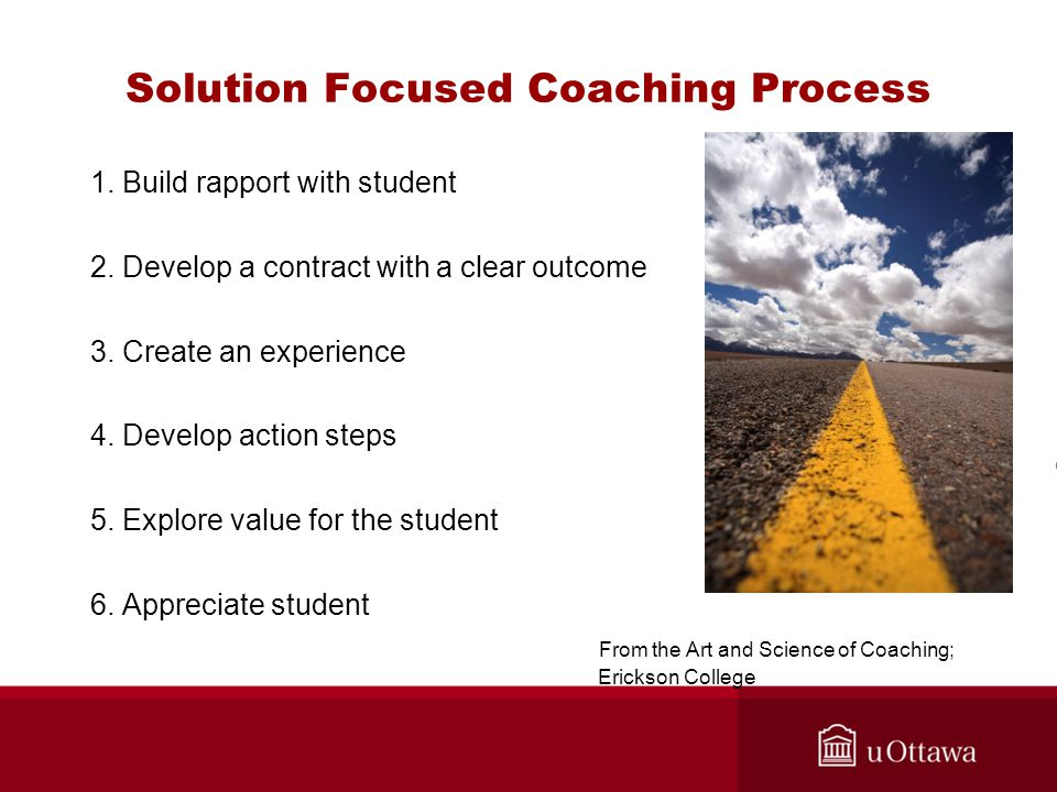 Solution Focused Coaching Process 1. Build rapport with student 2.
