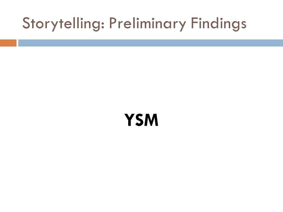Storytelling: Preliminary Findings YSM