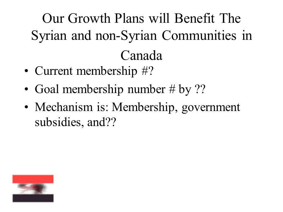 Our Growth Plans will Benefit The Syrian and non-Syrian Communities in Canada Current membership #? Goal membership number # by ?? Mechanism is: Membe