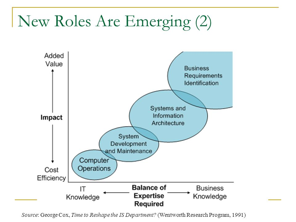 New Roles Are Emerging (2) Source: George Cox, Time to Reshape the IS Department.
